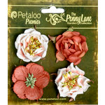 Petaloo - Penny Lane Collection - Floral Embellishments - Ruffled Roses - Paprika