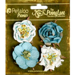 Petaloo - Penny Lane Collection - Floral Embellishments - Ruffled Roses - Teal