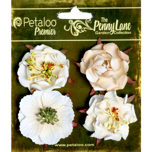 Petaloo - Penny Lane Collection - Floral Embellishments - Ruffled Roses - Vanilla