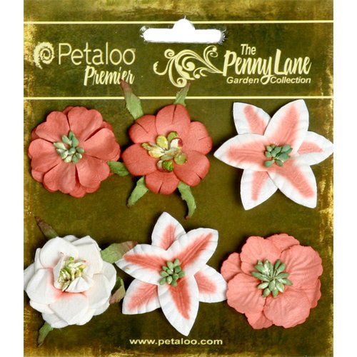 Petaloo - Penny Lane Collection - Floral Embellishments - Small Flower - Paprika