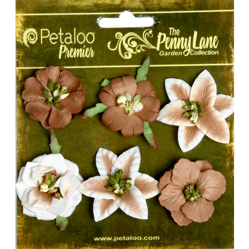 Petaloo - Penny Lane Collection - Floral Embellishments - Small Flower - Brownie