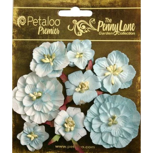 Petaloo - Penny Lane Collection - Floral Embellishments - Mixed Blossoms - Robin Egg Blue
