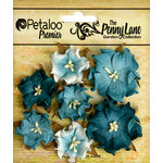 Petaloo - Penny Lane Collection - Floral Embellishments - Mini Wild Roses - Teal