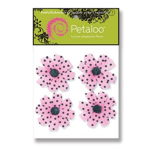 Petaloo - Pink Poodle Collection - Flowers - Wild Daisies Peel and Stick - 4 Flowers - Pink With Black Dots