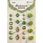 Petaloo - Flora Doodles Collection - Brads - Green