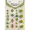 Petaloo - Flora Doodles Collection - Brads - Green