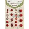 Petaloo - Flora Doodles Collection - Brads - Red