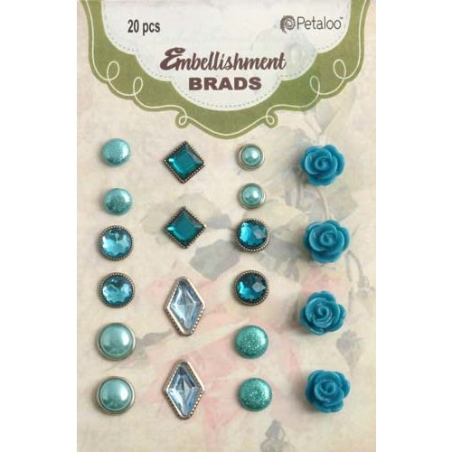 Petaloo - Flora Doodles Collection - Brads - Teal
