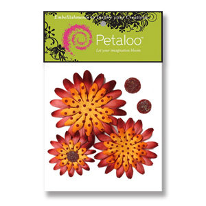 Petaloo - Retro Rage Collection - Flowers - Double Delight Peel and Stick - 4 Flowers - Orange With Burgandy Dots, CLEARANCE