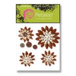 Petaloo - Sunken Treasure Collection -  Flowers - Double Delight Peel and Stick - 4 Flowers - Tan and Brown