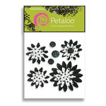 Petaloo - Pink Poodle Collection - Flowers - Double Delight Peel and Stick - 4 Flowers - White With Black Dots