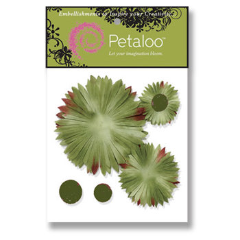 Petaloo - Retro Rage Collection - Flowers - Double Delight Peel and Stick - 3 Flowers - Sunburst Brown and Green, CLEARANCE
