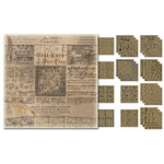 Tim Holtz - Idea-ology Collection - Christmas - 12 x 12 Paper Stash - Kraft Resist