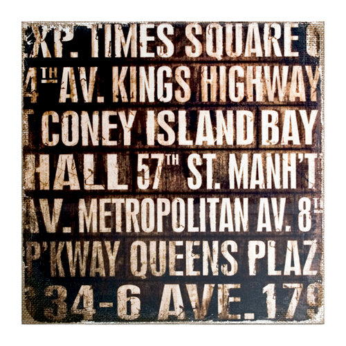 Tim Holtz - District Market Collection - Idea-ology - 12 x 12 Burlap Canvas Panel - Subway