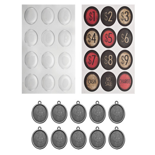 Tim Holtz - Idea-ology Collection - Oval Charms - Cash Keys