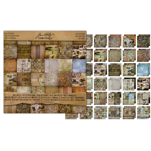 Tim Holtz - Idea-ology Collection - 12 x 12 Paper Stash - Destinations