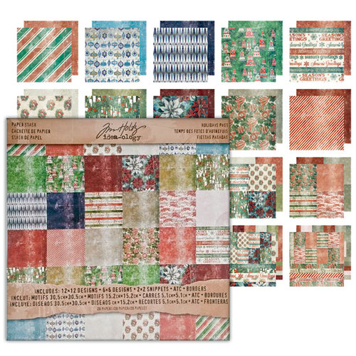Tim Holtz - Idea-ology Collection - Christmas - 12 x 12 Paper Stash - Holiday's Past