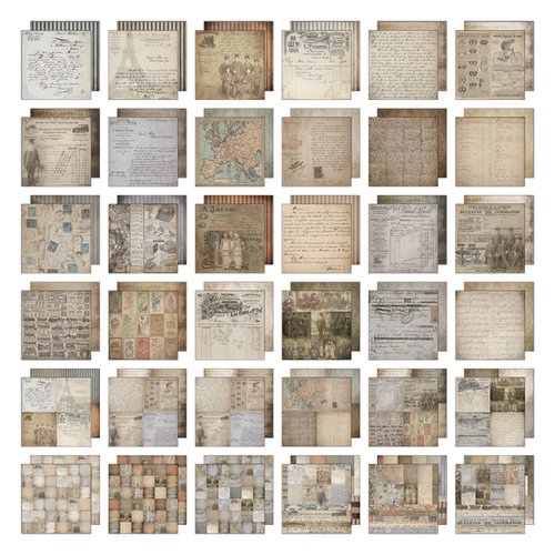 Tim Holtz - Idea-ology Collection - 12 x 12 Paper Stash - French Industrial