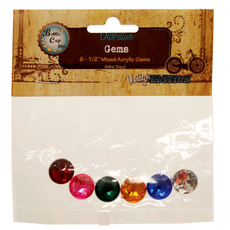 Bottle Cap  Inc - Vintage Edition Collection - Acrylic Gems - Mixed Colors - .5 Inch