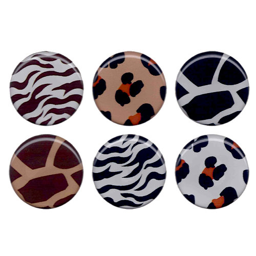 Bottle Cap  Inc - Vintage Edition Collection - Epoxy Stickers - Animal Print