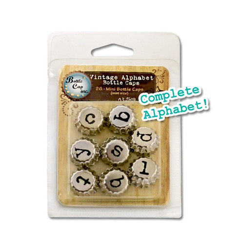 Bottle Cap Inc - Vintage Edition Collection - Mini Bottle Caps - Vintage Alphabet - Chrome