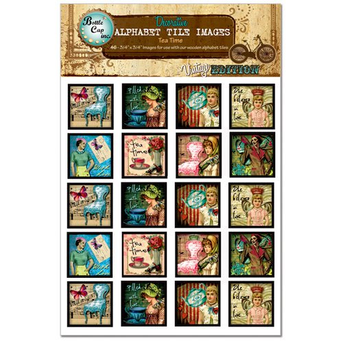 Bottle Cap Inc - Vintage Edition Collection - Alphabet Tile Images - Tea Time
