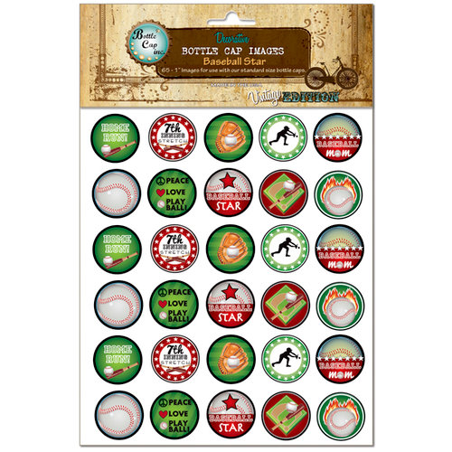 Bottle Cap Inc - Vintage Edition Collection - Bottle Cap Images - Baseball Star - 1 Inch