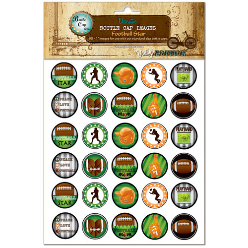 Bottle Cap Inc - Vintage Edition Collection - Bottle Cap Images - Football Star - 1 Inch