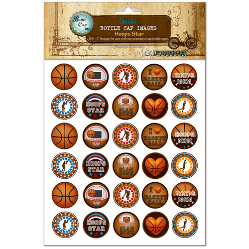 Bottle Cap Inc - Vintage Edition Collection - Bottle Cap Images - Hoops Star - 1 Inch