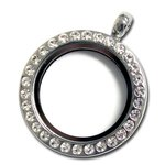 Bottle Cap Inc - Jewelry - Bezel Pendant - Round Silver Locket with Gems