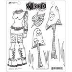 Ranger Ink - Dylusions Stamps - Unmounted Rubber Stamps - Shrooms