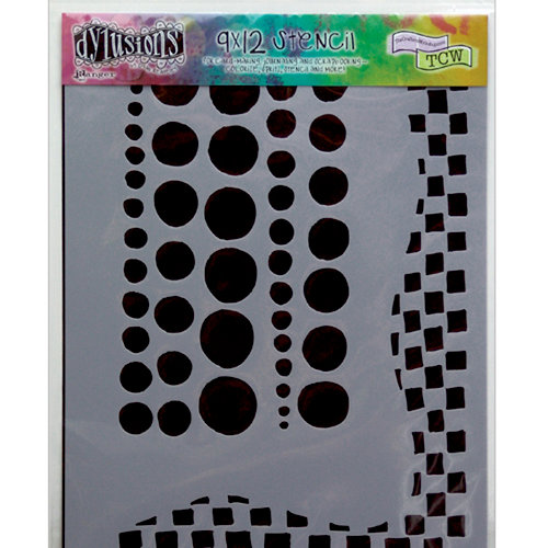 Ranger Ink - The Crafter's Workshop - 9 x 12 Doodling Template - Chequered Dots