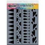 Ranger Ink - Dylusions Stencils - Heart Border - Large