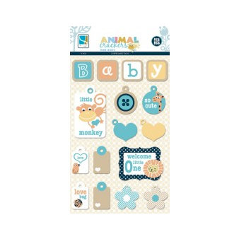 GCD Studios - Animal Crackers for Boys Collection - Chipboard Stickers - Tags