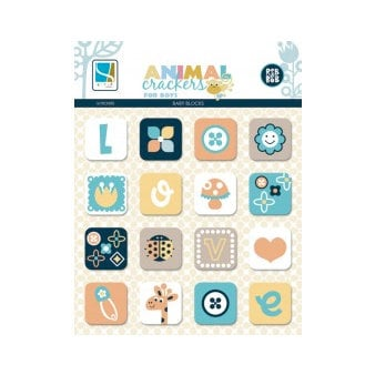 GCD Studios - Animal Crackers for Boys Collection - Chipboard Stickers - Blocks
