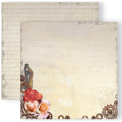 GCD Studios - Donna Salazar - Antiquities Collection - 12 x 12 Double Sided Paper - Vintage Gears