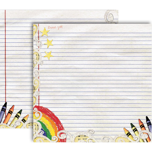 GCD Studios - Donna Salazar - Storybook Collection - 12 x 12 Double Sided Paper - Gold Stars