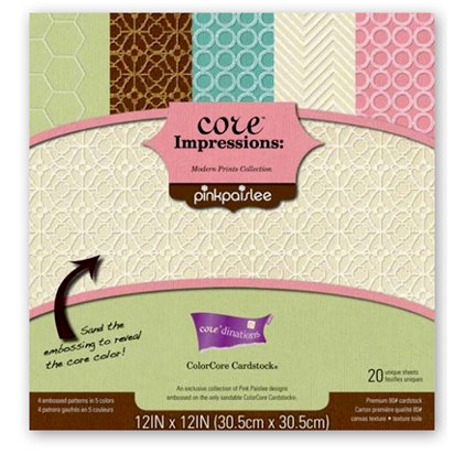 Core'dinations - Pink Paislee - Modern Prints Collection - 12 x 12 Embossed Cardstock Pack