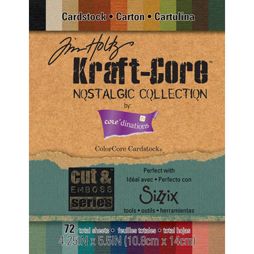 Core'dinations - Tim Holtz - Nostalgic Collection - 4.25 x 5.5 Textured Kraft Core Cardstock Pack