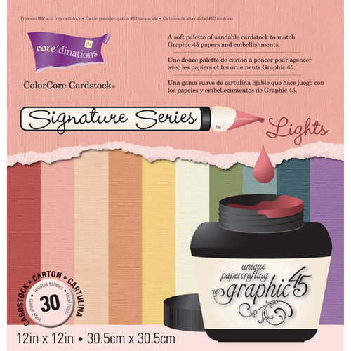 Graphic 45 - Core'dinations - Signature Series Collection - 12 x 12 Textured Color Core Cardstock Pack - Lights