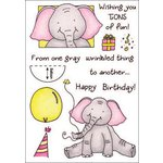 Inky Antics - HoneyPOP Collection - Clear Acrylic Stamps - Birthday Elephant Set
