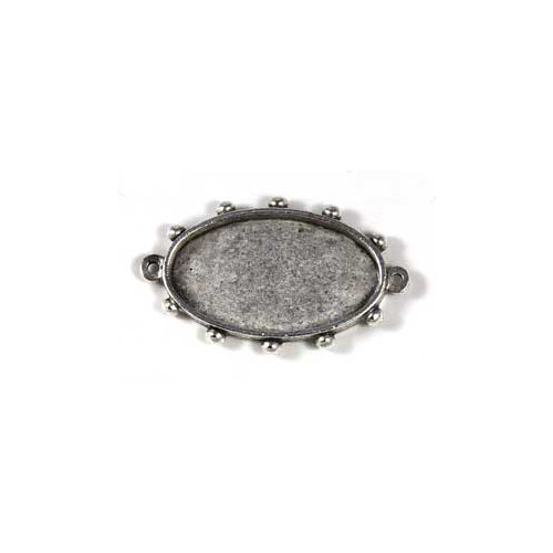 Art Mechanique - Ice Resin - Mixed Metal Bezels - Silver Plated - Hobnail Oval - Medium
