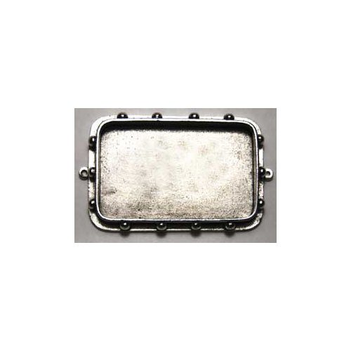 Art Mechanique - Ice Resin - Mixed Metal Bezels - Silver Plated - Hobnail Rectangular - Large