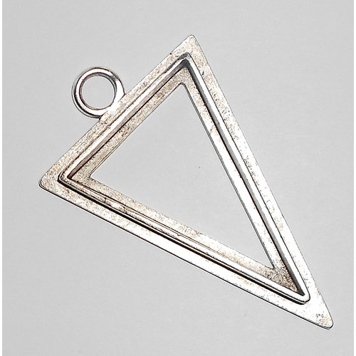 Art Mechanique - Ice Resin - Mixed Metal Bezels - Silver Plated - Raised Triangle - Large
