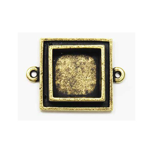 Art Mechanique - Ice Resin - Mixed Metal Bezels - Bronze Plated - Raised Square