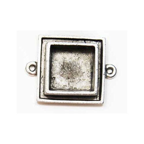 Art Mechanique - Ice Resin - Mixed Metal Bezels - Silver Plated - Raised Square