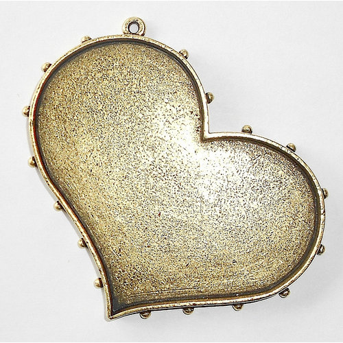 Art Mechanique - Ice Resin - Mixed Metal Bezels - Bronze Plated - Hobnail Heart - Large