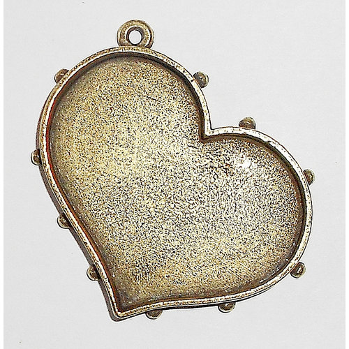 Art Mechanique - Ice Resin - Mixed Metal Bezels - Bronze Plated - Hobnail Heart - Medium