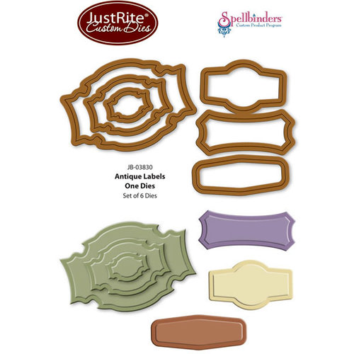 JustRite - Spellbinders - Die Cutting and Embossing Template - Antique Labels One