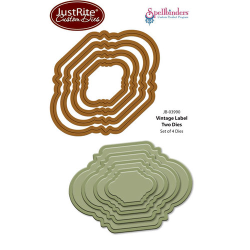 JustRite - Spellbinders - Die Cutting and Embossing Template - Vintage Labels Two